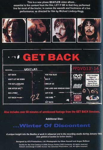 Get Back (DVD) - Rear Cover