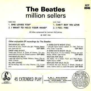 The Beatles Million Sellers - Rear Cover