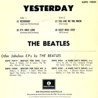 Yesterday E.P. - Rear Cover