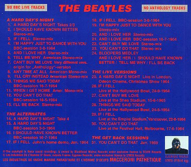 The Alternate A Hard Day's Night - CD back